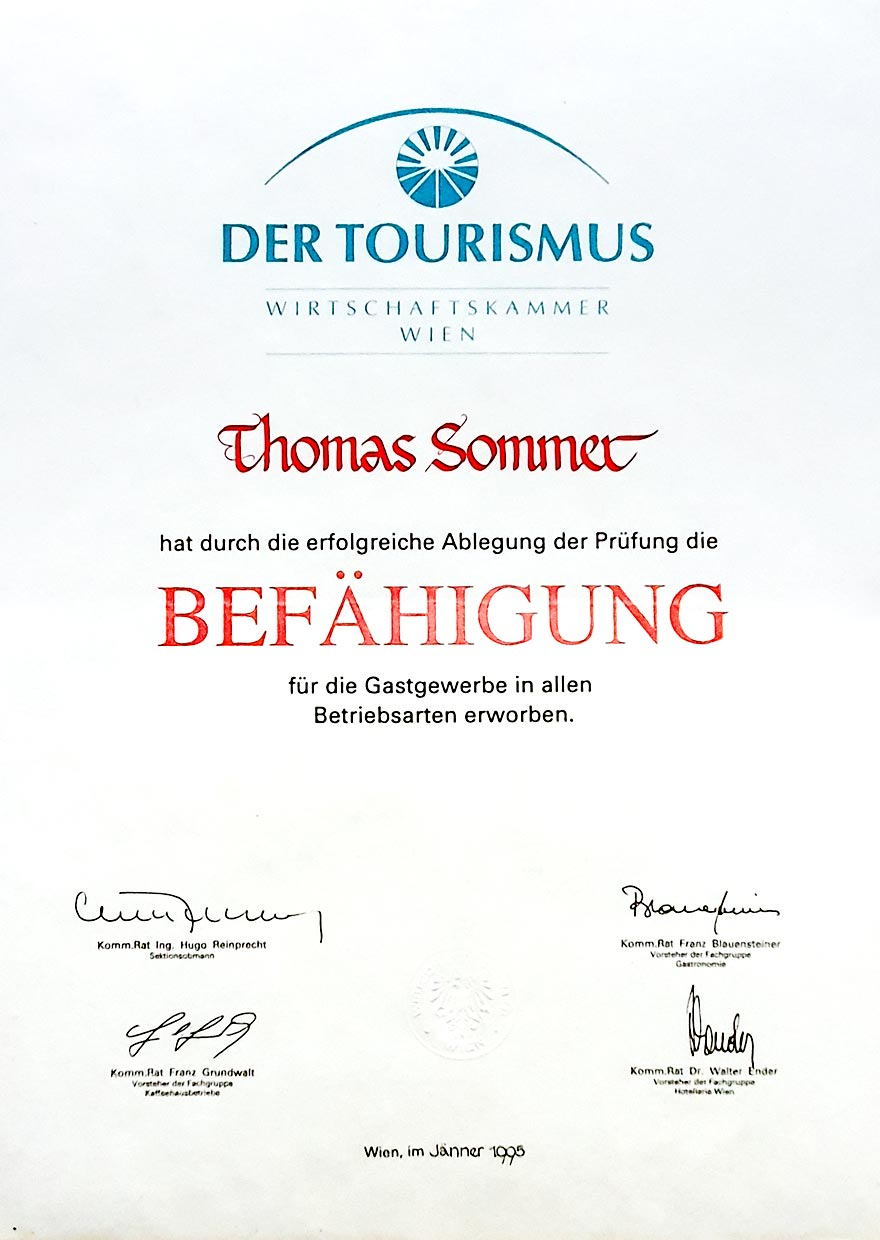 TS Hospitality Consulting diploms